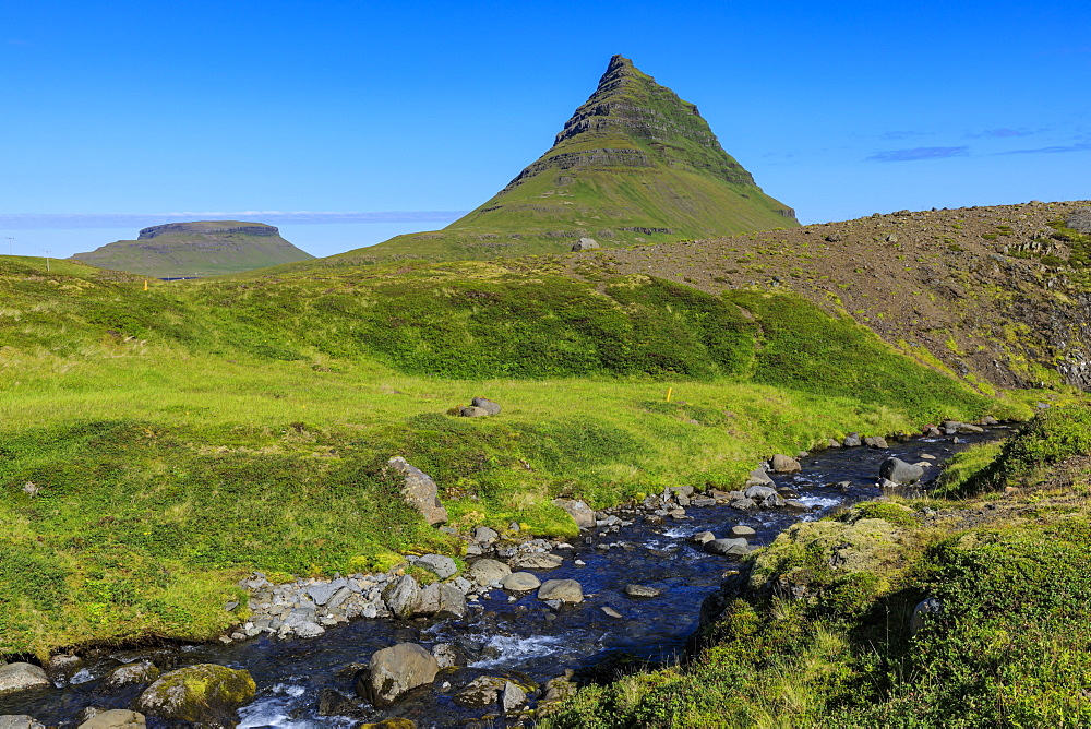 Kirkjufell Mountain, river, lush grass, Grundarfjordur, blue sky, good weather, Summer, Snaefellsnes Peninsula, Iceland