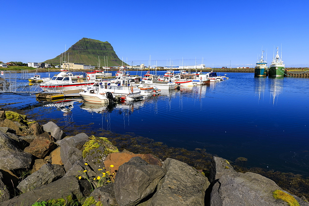 Fishing boats, harbour, Kirkjufell Mountain, Grundarfjordur town, Summer, blue sea and sky, Snaefellsnes Peninsula, Iceland