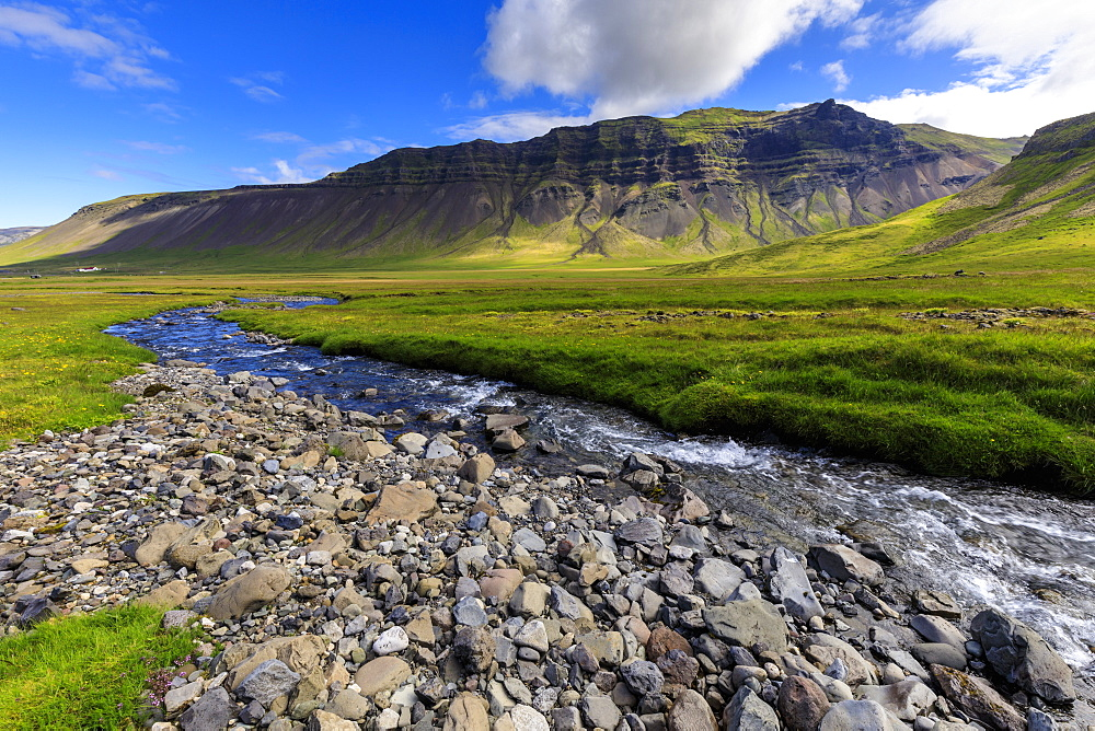Grundara River, mountains, lush grasses, blue sky, Grundarfjordur, Summer, Snaefellsnes Peninsula, Iceland