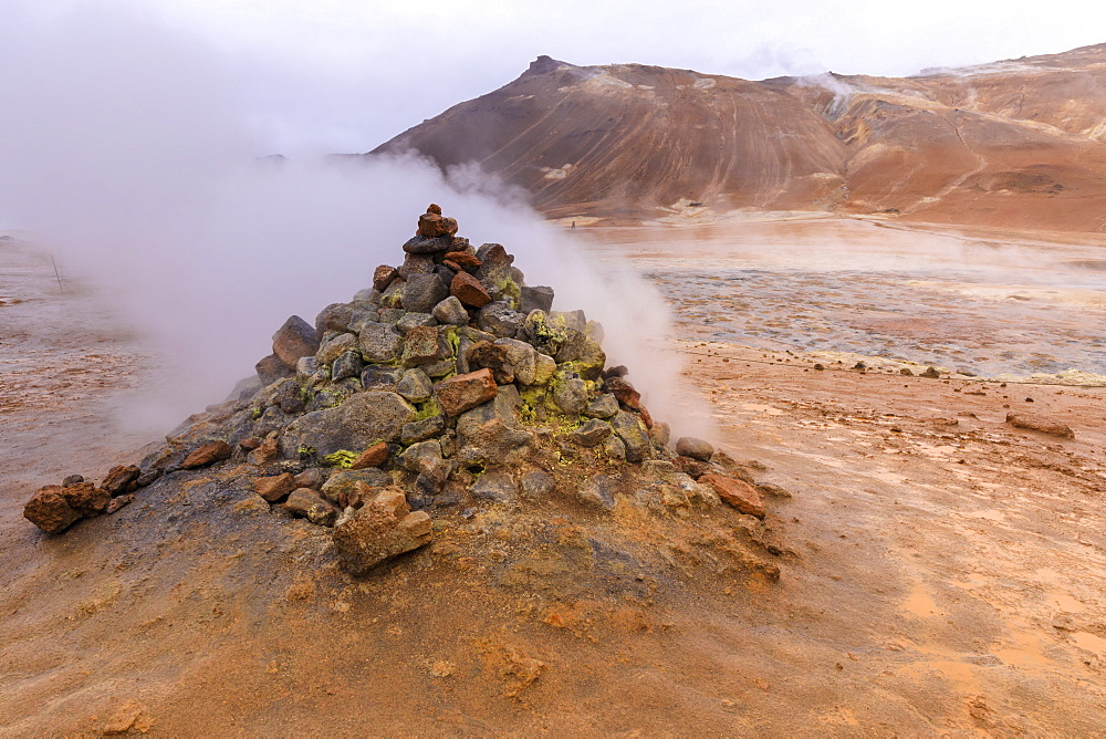 Fumarole in Namafjall Geothermal Area in Iceland, Europe