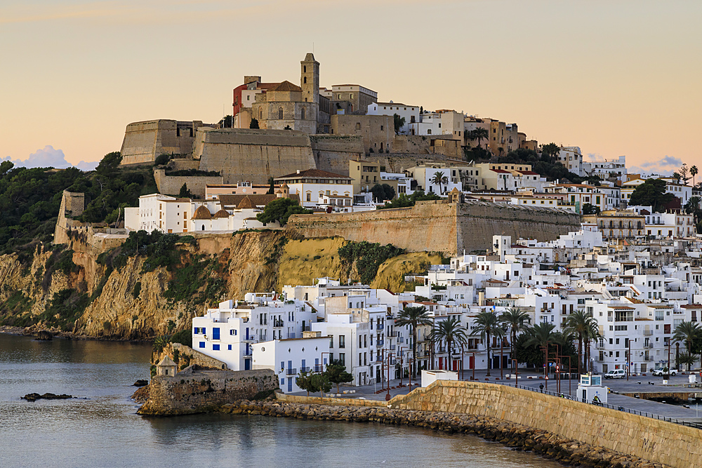 Ramparts, walls, cathedral, Dalt Vila, at sunrise, UNESCO World Heritage Site, Ibiza Town, Eivissa, Balearic Islands, Spain