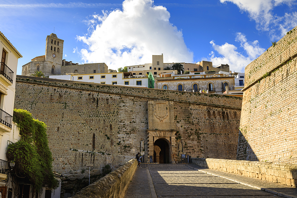Portal de Ses Taules main gate, cathedral, Dalt Vila old town, UNESCO World Heritage Site, Ibiza Town, Balearic Islands, Spain, Mediterranean, Europe