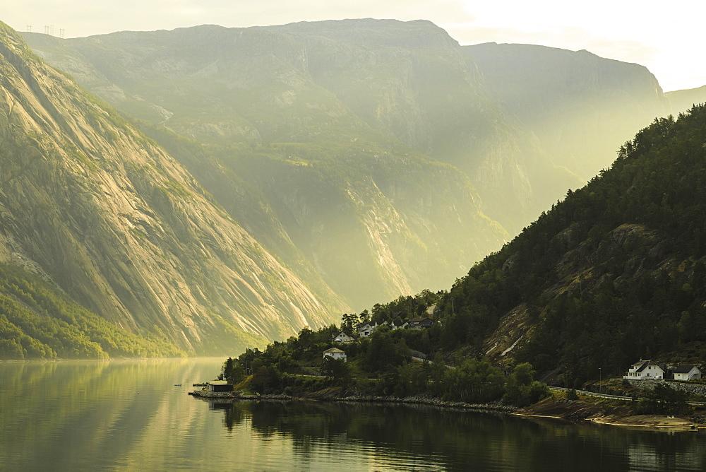 Beautiful Eidfjord, morning mist, fjord reflections, Hardangerfjord, Norwegian Western Fjords, Norway, Scandinavia, Europe