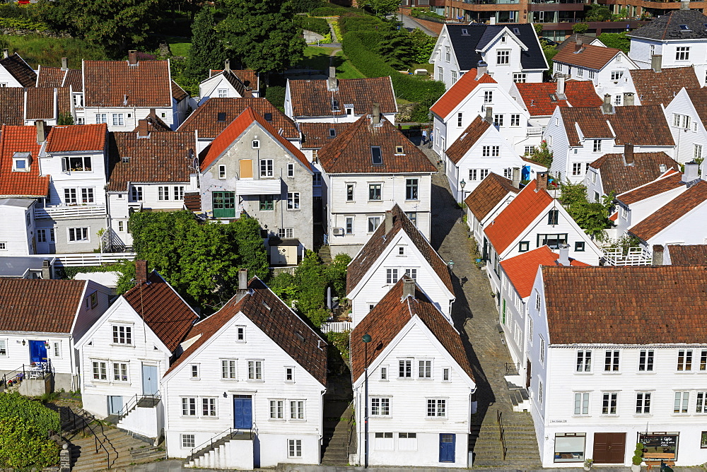 Elevated view, old town, cobbled streets, white wooden houses, Summer, Gamle Stavanger, Rogaland, Norway, Scandinavia, Europe
