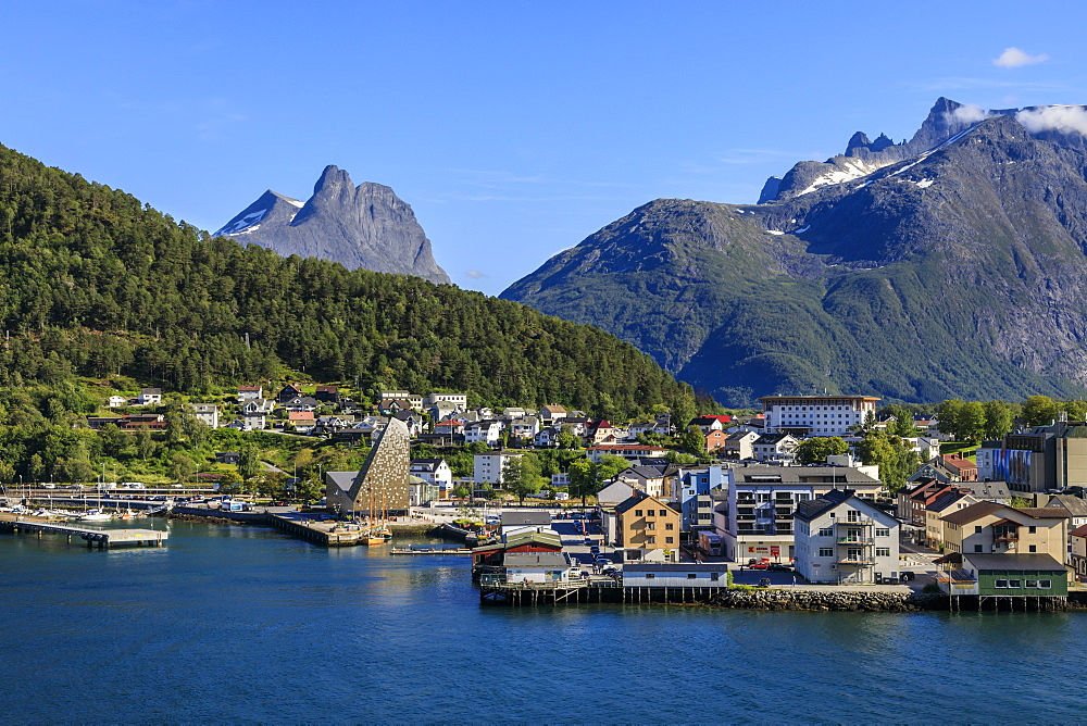 Andalsnes, town, mountains, elevated view from cruise ship on Romsdalsfjord (Romsdal Fjord), Summer, More og Romsdal, Norway, Scandinavia, Europe
