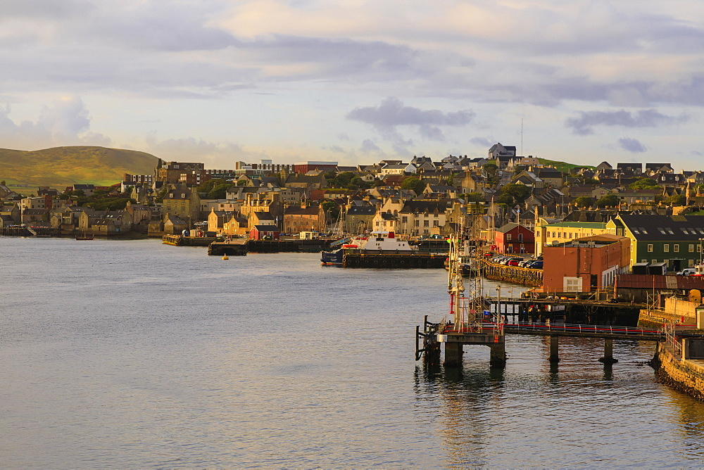 Lerwick, elevated view from the sea, morning light, Lerwick, Mainland, Shetland Isles, Scotland, United Kingdom, Europe