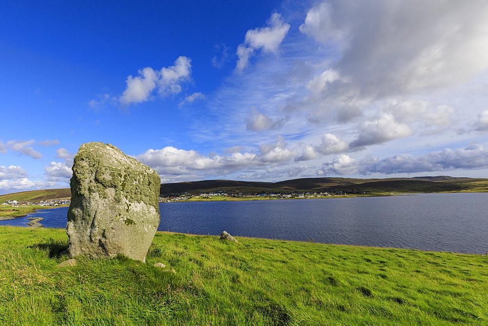Busta Brae, Standing Stone, cloudscape and coastal views, beautiful day, Busta Voe, Brae, Delting, Shetland Isles, Scotland, United Kingdom, Europe - 1167-2145