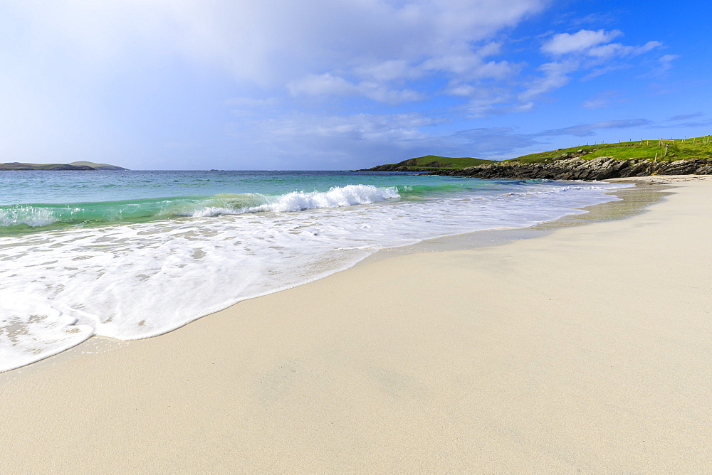 Meal Beach, white sand, turquoise water, one of Shetland's finest, Island of West Burra, Shetland Isles, Scotland, United Kingdom, Europe