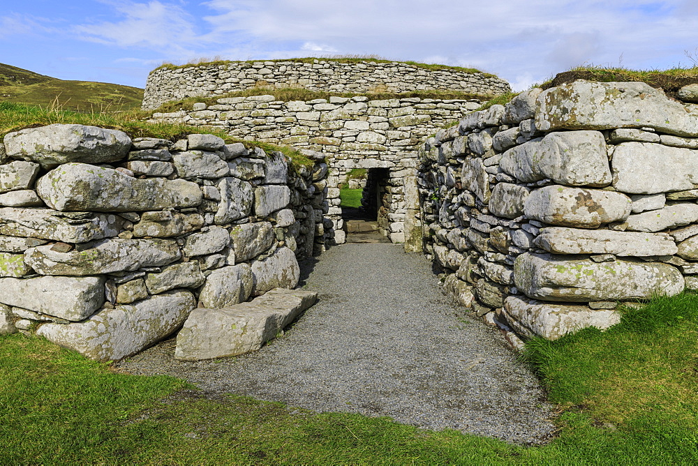 Clickimin Broch, Iron Age Fort, entrance, Clickimin Loch, Central Lerwick, Shetland Isles, Scotland, United Kingdom, Europe