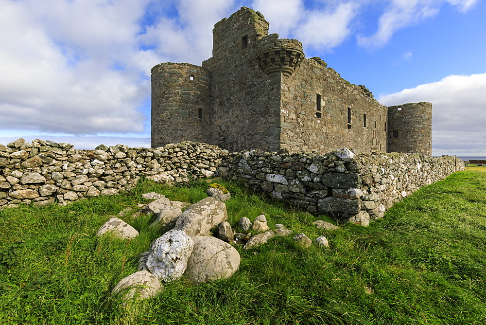 Muness Castle, 1598, most northerly in United Kingdom, coastal views, Uyeasound, Island of Unst, Shetland Isles, Scotland, United Kingdom, Europe - 1167-2158