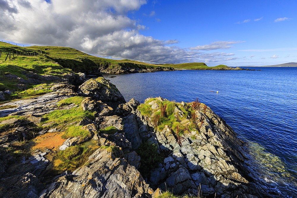 View towards Bressay on a beautiful day, Bay of Ocraquoy, Fladdabister, South Mainland, Shetland Isles, Scotland, United Kingdom, Europe