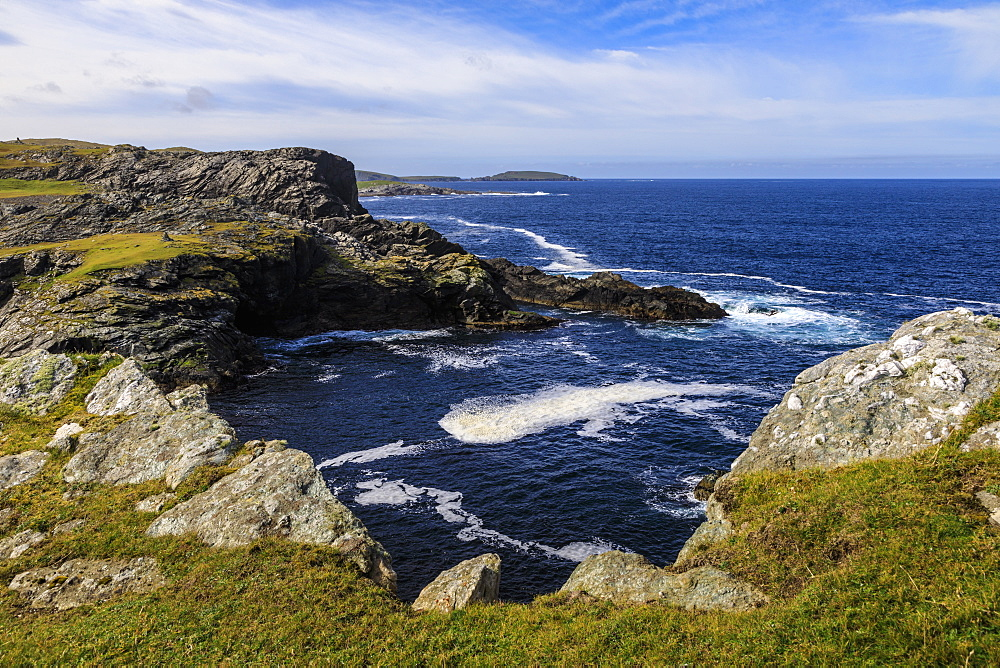 Isle of Fethaland, frothy sea, dramatic coast, view South to Isle of Uyea, North Roe, North Mainland, Shetland Isles, Scotland, United Kingdom, Europe