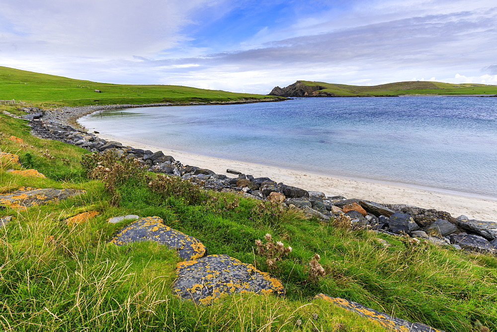Minn Beach, Banna Minn, white sand, turquoise sea, Papil, West Burra Island, Shetland Isles, Scotland, United Kingdom, Europe