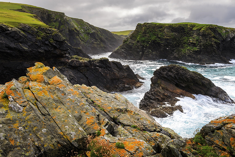 Ketla Ness peninsula, Fugla Stack, dramatic coast, cliffs, clouds, Banna Minn, West Burra Island, Shetland Isles, Scotland, United Kingdom, Europe