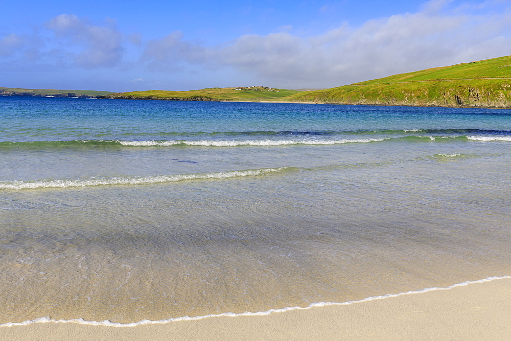 Scousburgh Sands, Spiggie Beach, white sand, turquoise sea, South Mainland, Shetland Isles, Scotland, United Kingdom, Europe