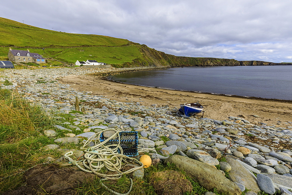 Norwick Beach, yoal, rowing boat, lobster pot, croft houses, Skaw, Island of Unst, Shetland Isles, Scotland, United Kingdom