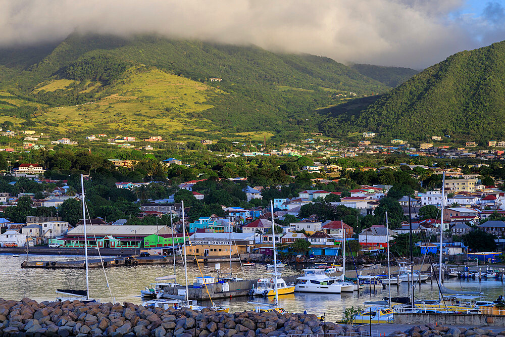 Basseterre, sunrise, elevated view from the sea, St. Kitts, St. Kitts and Nevis, Caribbean