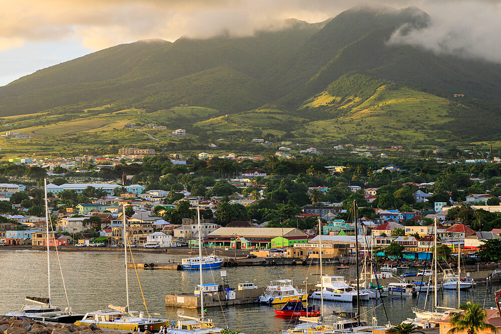 Basseterre, sunset, elevated view, St. Kitts, St. Kitts and Nevis, Caribbean