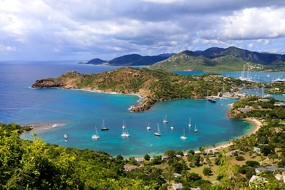 Galleon Beach, Freemans Bay, Nelsons Dockyard and English Harbour, Falmouth Harbour, from Shirley Heights, Antigua, Antigua and Barbuda, Leeward Islands, West Indies, Caribbean, Central America