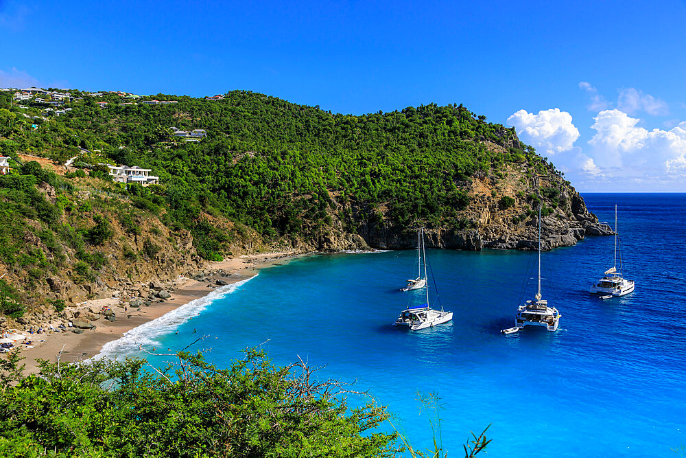 Shell Beach, yachts anchored in turquoise bay, elevated view, Gustavia, St. Barthelemy (St. Barts) (St. Barth), West Indies, Caribbean, Central America