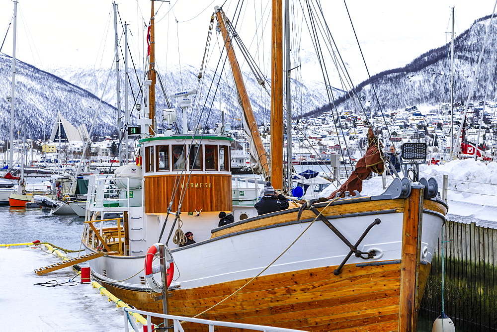 Small boat harbour, fjord, Arctic Cathedral, deep snow in winter, Tromso, Troms og Finnmark, Arctic Circle, North Norway, Scandinavia, Europe