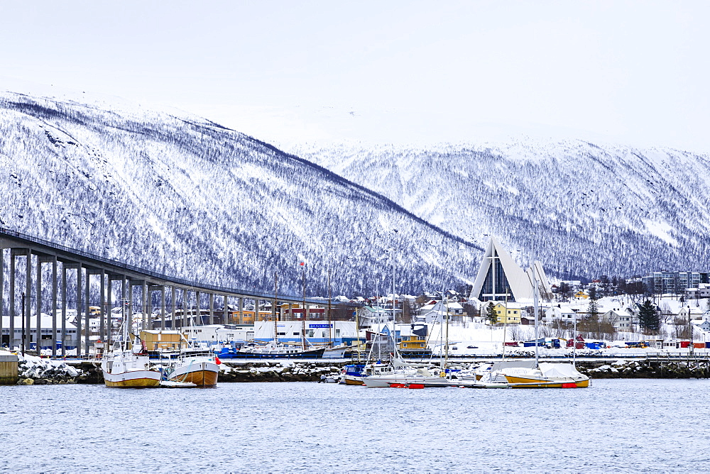 Tromso, small boat harbour, fjord, bridge, Arctic Cathedral, deep snow, Winter, Troms og Finnmark, Arctic Circle, North Norway