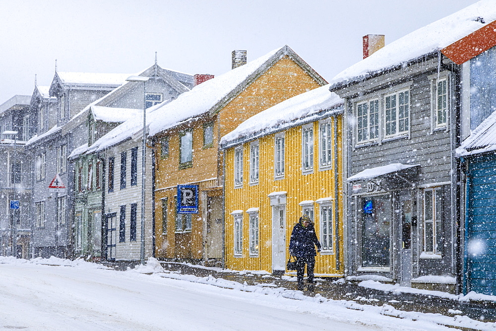 Tromso, historic central district, colourful wooden houses, heavy snow, Winter, Troms og Finnmark, Arctic Circle, North Norway