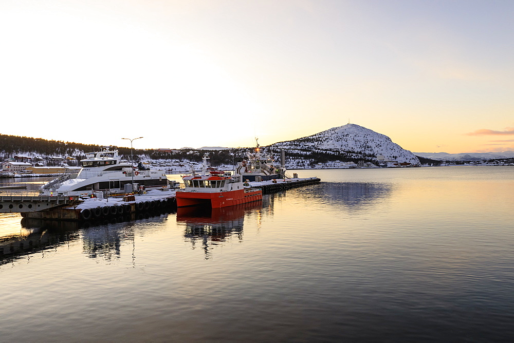 Port, ferry and boats, Altafjord, sea, mountains, snow, winter sunset, Alta, Troms og Finnmark, Arctic Circle, North Norway, Scandinavia, Europe