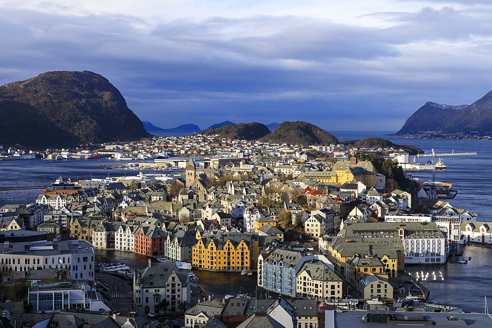 View from Aksla hill over Alesund, Art Nouveau buildings, mountains and sea in winter, Alesund, More og Romsdal, Norway, Scandinavia, Europe