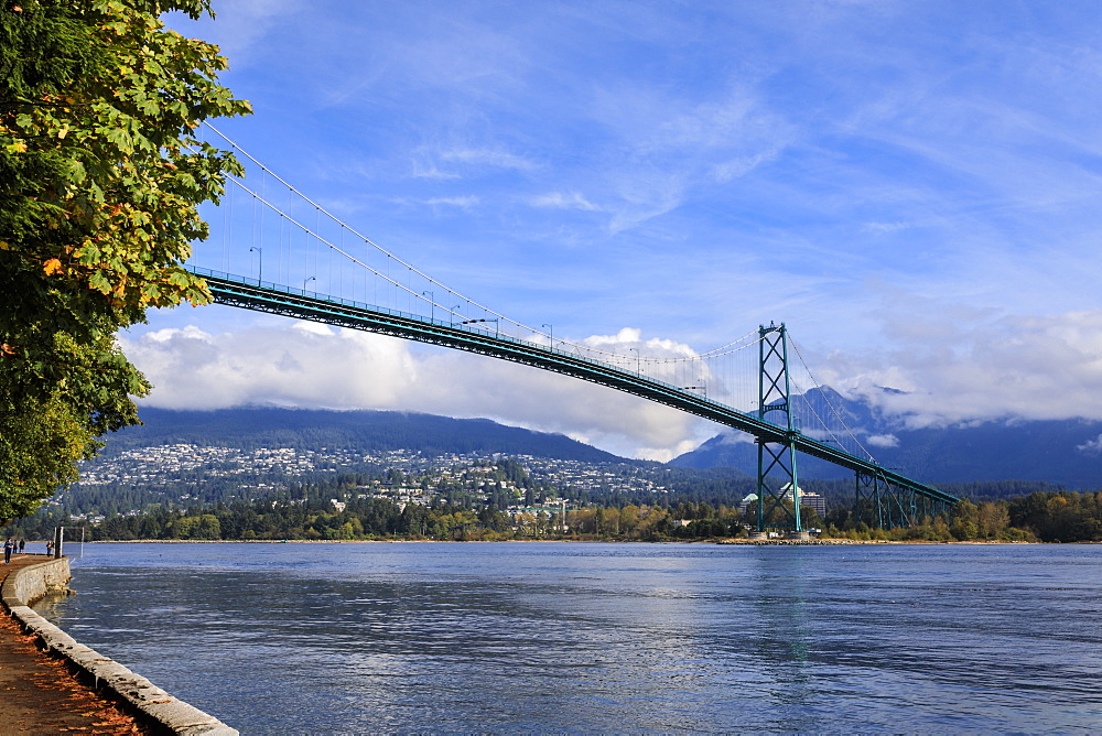 Lions Gate Bridge from Stanley Park Seawall, Stanley Park, Autumn, Vancouver City, British Columbia, Canada, North America