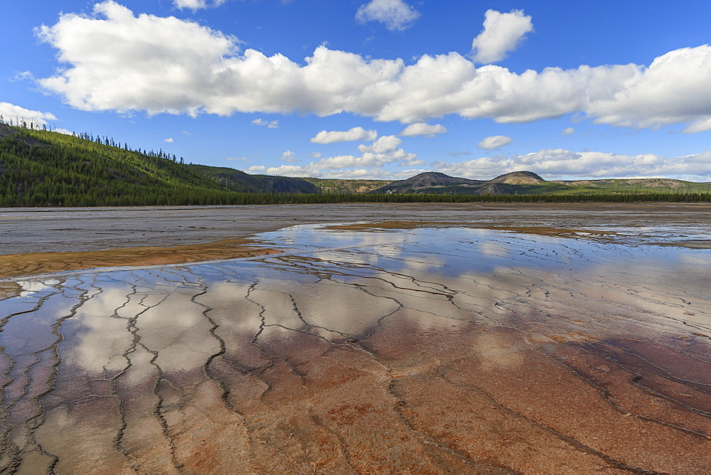 Grand Prismatic Spring reflections with Twin Buttes, Midway Geyser Basin, Yellowstone National Park, UNESCO World Heritage Site, Wyoming, United States of America, North America