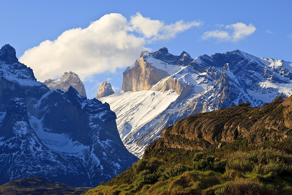 Late evening mountain view, Cordillera del Paine, Torres del Paine National Park, Patagonia, Chile, South America