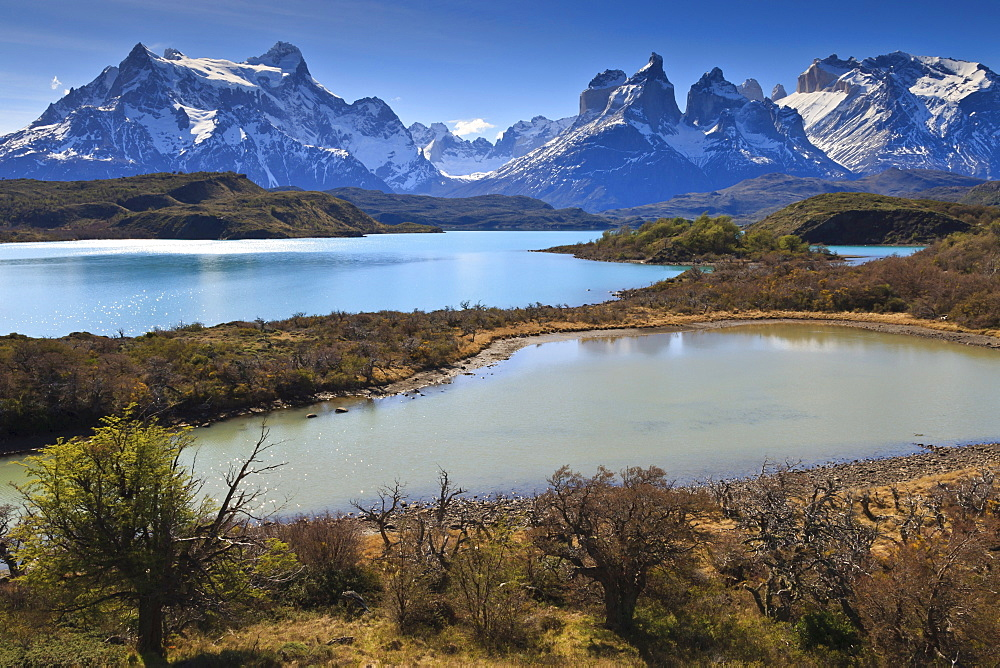Lago Pehoe and Cordillera del Paine in late afternoon, Torres del Paine National Park, Patagonia, Chile, South America
