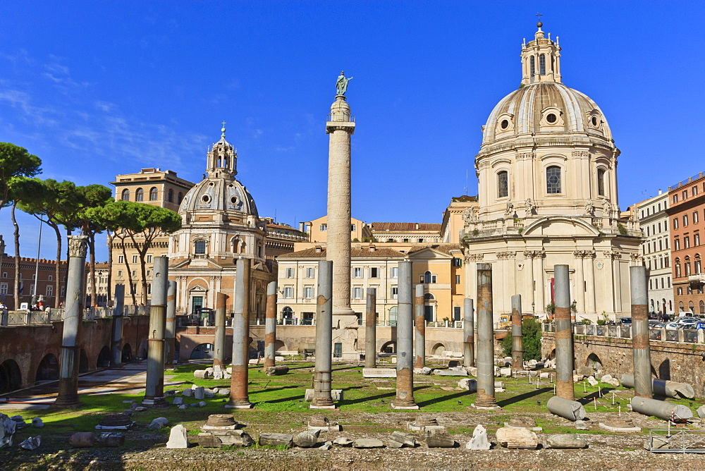 Trajan's Column and Forum, Forum area, Rome, Lazio, Italy, Europe