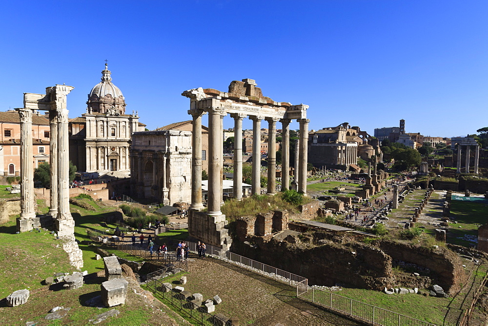 Elevated view of the columns of the Temples of Saturn and Vespasian with Santi Luca e Martina, Forum, UNESCO World Heritage Site, Rome, Lazio, Italy, Europe