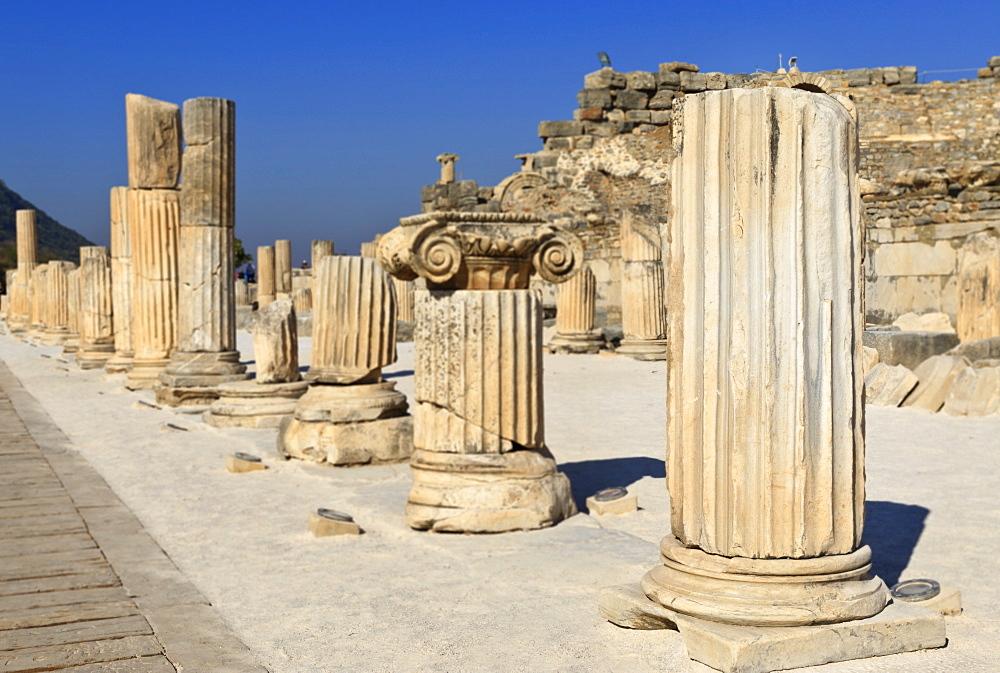 A row of columns, ancient Ephesus, near Kusadasi, Anatolia, Turkey, Asia Minor, Eurasia