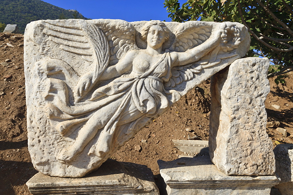 Relief of Nike, winged goddess of victory, Roman ruins of ancient Ephesus, near Kusadasi, Anatolia, Turkey, Asia Minor, Eurasia
