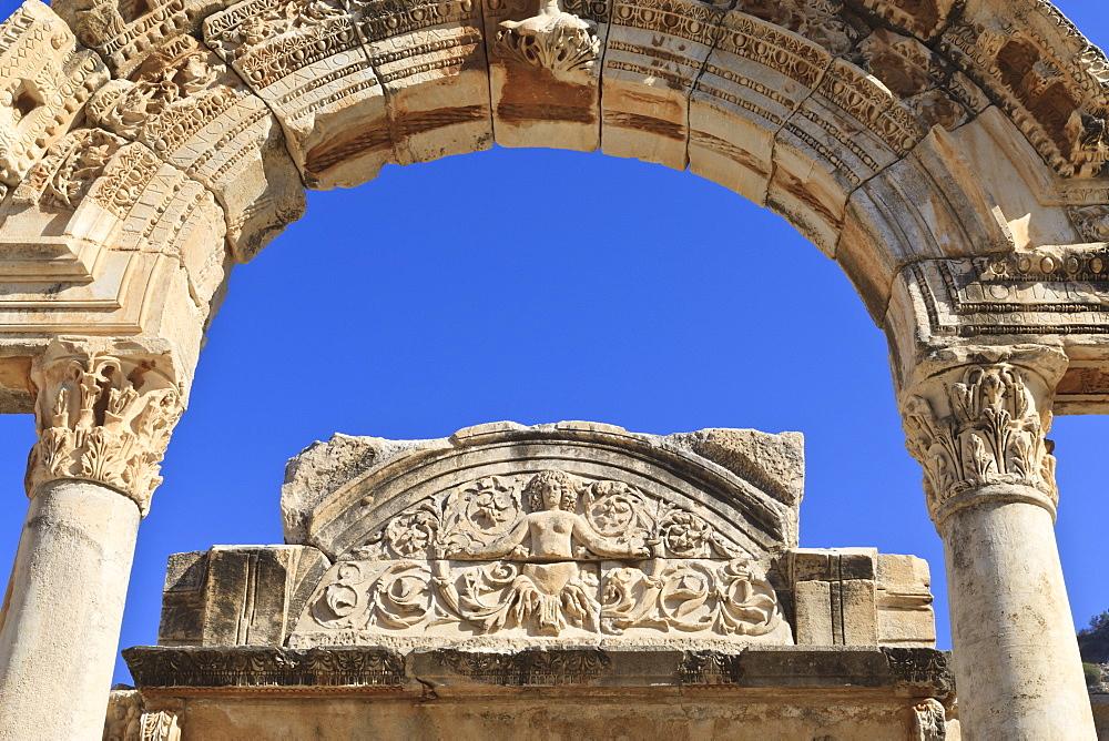 Detail of the Temple of Hadrian, Roman ruins of ancient Ephesus, near Kusadasi, Anatolia, Turkey, Asia Minor, Eurasia
