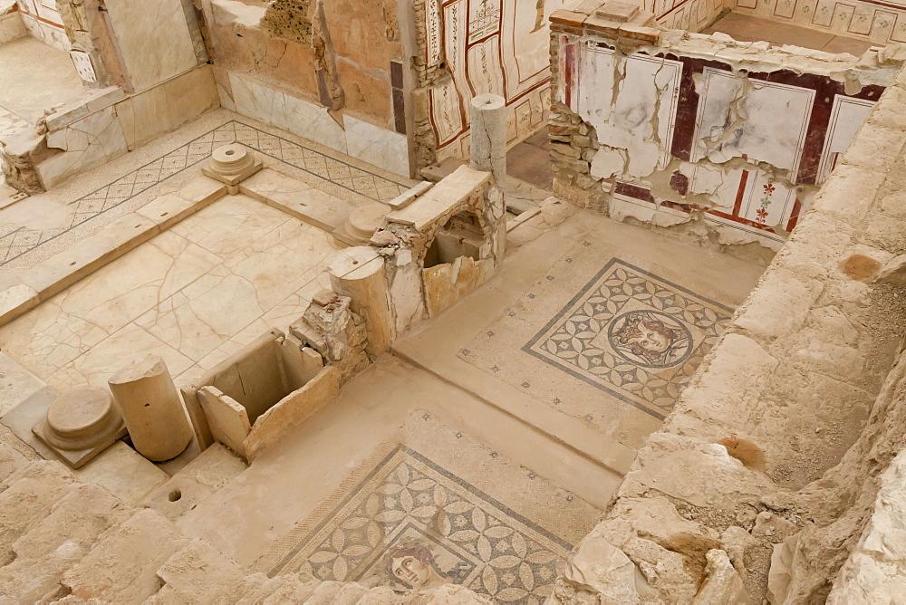 Elevated view of mosaics, murals and frescoes in a Terrace House, Curetes Street, Ephesus, near Kusadasi, Anatolia, Turkey, Asia Minor, Eurasia