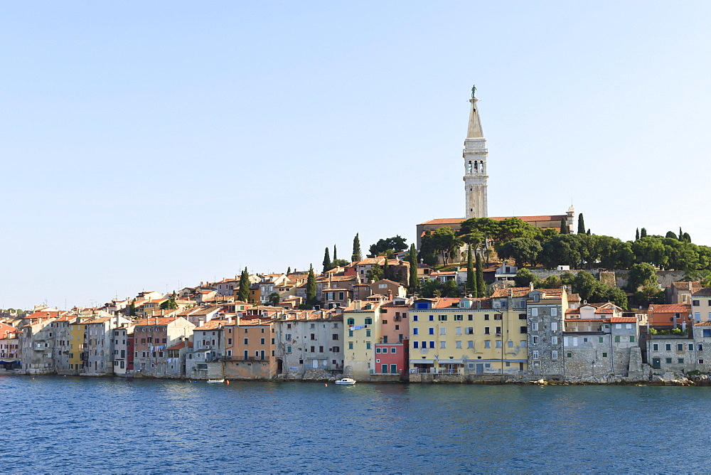 Church of St. Euphemia and Old Town from the sea on a summer's early morning, Rovinj (Rovigno) peninsula, Istria, Croatia, Europe