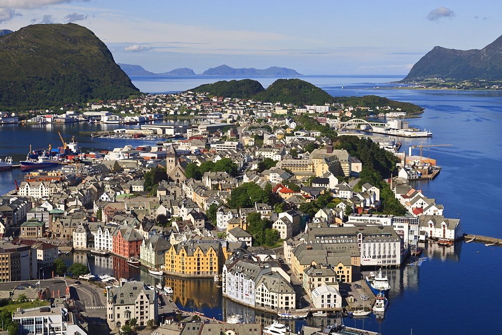 View from Aksla hill over Alesund and surrounding waters, More og Romsdal, Norway, Scandinavia, Europe