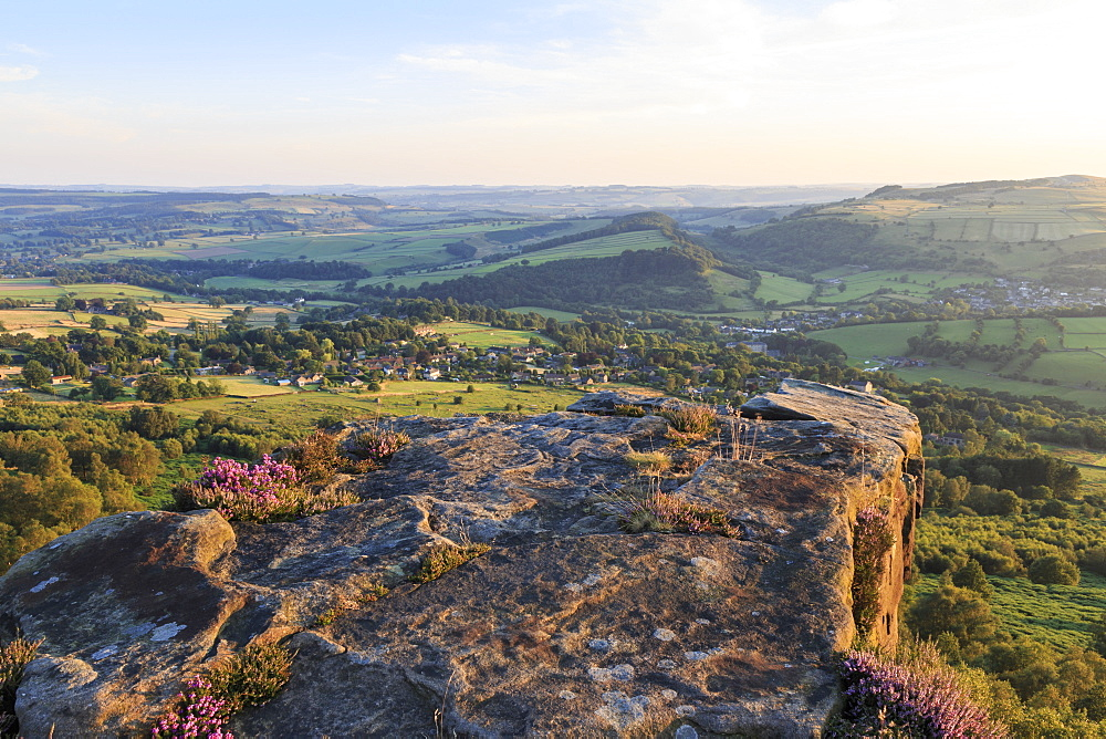Curbar and Calver villages from Curbar Edge on a summer evening, Peak District National Park, Derbyshire, England, United Kingdom, Europe