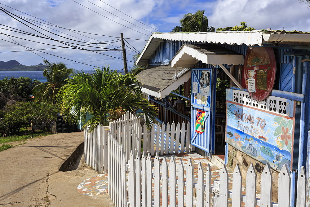 Quiet Caribbean, bar with picket fence, unnamed village, Mayreau, Grenadines of St. Vincent, Windward Islands, West Indies, Caribbean, Central America
