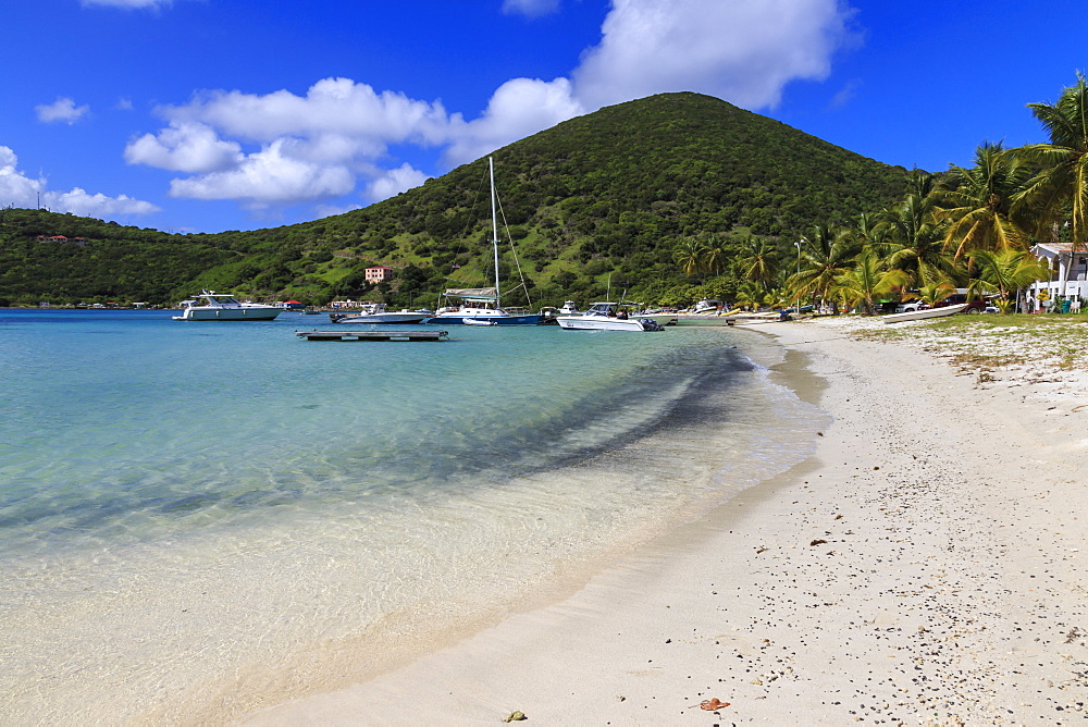 Beach, green hills and yachts, Great Harbour, Jost Van Dyke, British Virgin Islands, West Indies, Caribbean, Central America