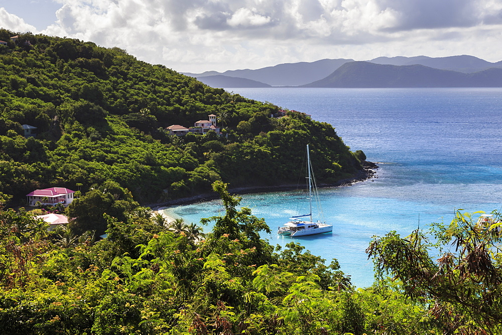 Elevated view of cove with yacht, White Bay, Jost Van Dyke, British Virgin Islands, West Indies, Caribbean, Central America