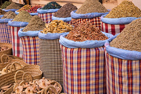 Bags of herbs and spices for sale in souk in the old quarter, Medina, Marrakesh, Morocco, North Africa, Africa - 1170-113