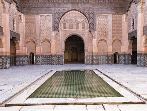 Central courtyard and pool, Medersa Ali Ben Youssef (Madrasa Bin Yousuf), Medina, UNESCO World Heritage Site, Marrakesh,  Morocco, North Africa, Africa - 1170-114
