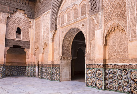 Doorway, Medersa Ali Ben Youssef (Madrasa Bin Yousuf), Medina, UNESCO World Heritage Site, Marrakesh,  Morocco, North Africa, Africa - 1170-116