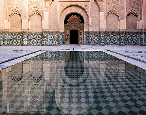 Reflections in the courtyard pool, Medersa Ali Ben Youssef (Madrasa Bin Yousuf), Medina, UNESCO World Heritage Site, Marrakech, Morocco, North Africa, Africa - 1170-119