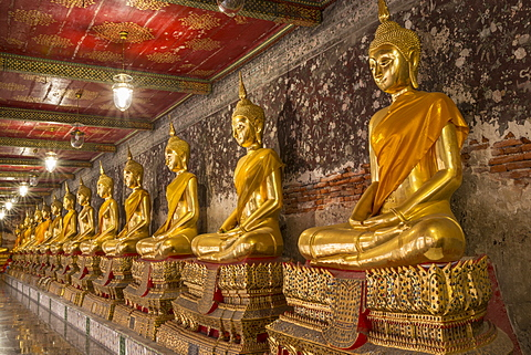 Rows of gold Buddha statues, Wat Suthat temple, Bangkok, Thailand, Southeast Asia, Asia - 1170-201